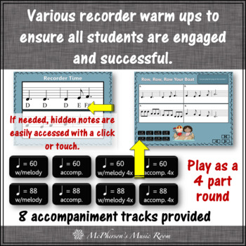 Soprano Recorder Song: Row Row Row Your Boat Interactive Visuals {Notes DEF#GAD}