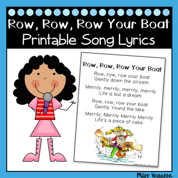 Row, Row, Row Your Boat ~ Song Lyrics Page for Reading & Sight Word Practice!