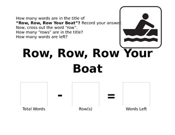 Row, Row, Row Your Boat - Subtraction Worksheet
