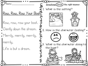 Row, Row, Row your Boat Literacy Activities