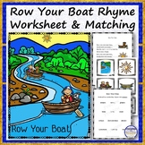 Row Your Boat Rhyme, Worksheet and Matching