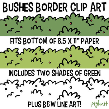 Row of Bushes Border Clip Art | Foliage Leafy Clipart