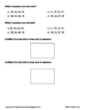 Rows and Columns, Partitioning, Even and Odd Review