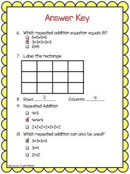 Rows and Columns Test with answer key!