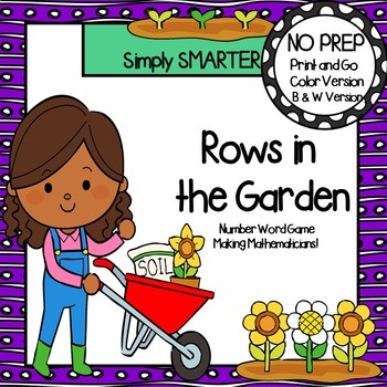Rows in the Garden:  NO PREP Number Word Four in a Row Game