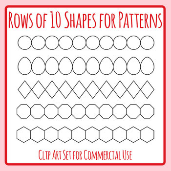 Rows of 10 Shapes / Blank Graphic Organizer Templates / Clip Art Commercial Use