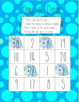 Rows of Dinos - 0-20 Math Fact Game