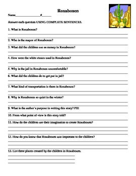 Roxaboxen Story Questions