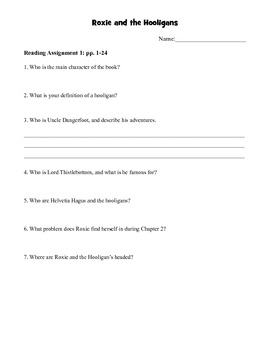 Roxie and the Hooligans Comprehension Packet