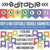 Roy G Biv Editable Doodle Banners