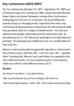 Roy Lichtenstein Handout