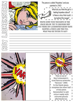 Roy Lichtenstein- POP ART worksheet