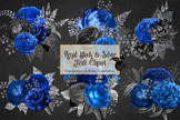Royal Black and Silver Glitter Floral Bouquets Clipart