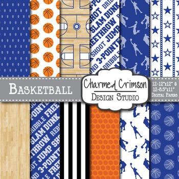 Royal Blue Basketball Digital Paper 1252