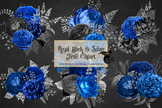Royal Blue Black and Silver Floral Clipart