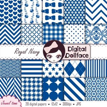 Royal Blue Digital Paper / Navy Blue Backgrounds / Printable Patterns