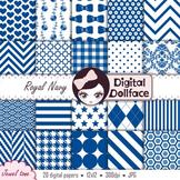 Royal Blue Digital Paper / Navy Blue Backgrounds / Printab