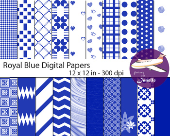 Royal Blue  Digital Papers for Backgrounds, Scrapbooking & Classroom Decorations