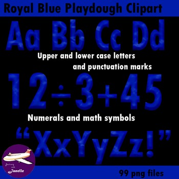 Royal Blue Playdough Look Alphabet Clip Art  for Bulletin Boards and More