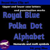 Royal Blue Polka Dot Alphabet Clip Art + Numerals, Punctua