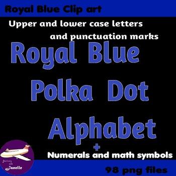 Royal Blue Polka Dot Alphabet Clip Art + Numerals, Punctua