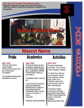 Royal Blue School Information Flyer
