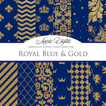 Royal Blue and Gold Digital Paper