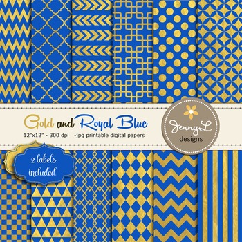 Royal Blue and Gold Digital Papers, Geometric