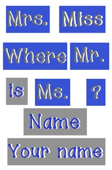 Royal Blue and Gray - WORDS for your Where is the counselor sign - Primer Dots