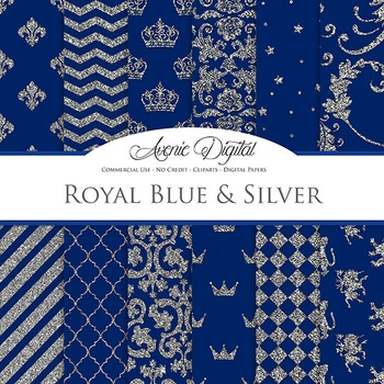 Royal Blue and Silver Digital Paper - Background
