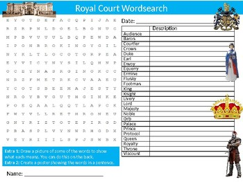 Royal Court Wordsearch Sheet Starter Activity Keywords Cover History Royalty