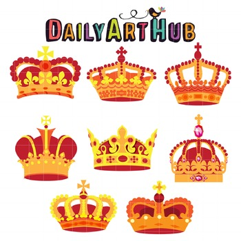Royal Crowns Clip Art - Great for Art Class Projects!