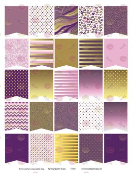 Royal Glam Purple and Gold Large Flags Printable Planner Stickers
