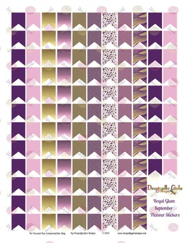Royal Glam Purple and Gold 126 Small Flags Printable Plann