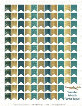Royal Glam Purple and Gold 126 Small Flags Printable Planner Stickers