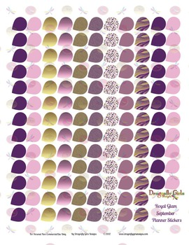 Royal Glam Purple and Gold 139 Small Teardrops Printable Planner Stickers