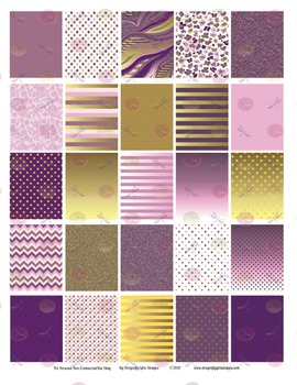 Royal Glam Purple and Gold 25 Squares Large Boxes Printabl