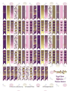 Royal Glam Purple and Gold 80 Long Flags Printable Planner Stickers