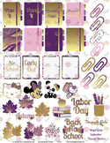 Royal Glam Purple and Gold Cuties, School and Holiday Printable Planner Stickers