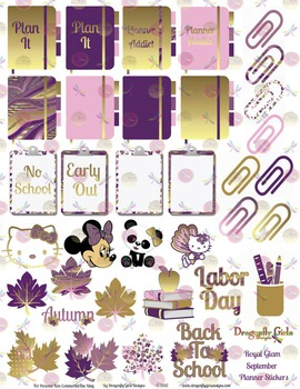 photo regarding Printable Sticker known as Royal Glam Pink and Gold Cuties, University and Trip Printable Planner Stickers