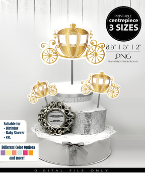 Royal Gold Carriage Centerpiece/ Cake Topper,  PNG, 3 Sizes