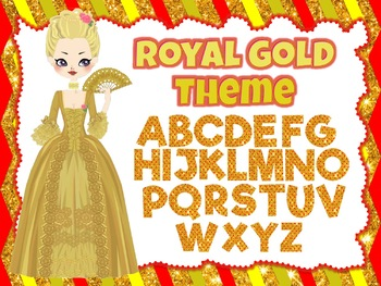 Royal Gold Theme: 100 Alphabet, Numbers and Symbols clip arts (polka dot red)