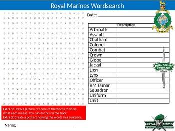 Royal Marines Wordsearch Sheet Starter Activity Keywords Careers Jobs