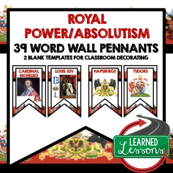 Royal Power/ Absolutism Word Wall Pennants (World History)