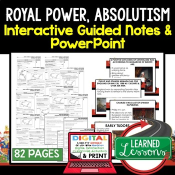 Royal Power and Absolutism Guided Notes & PowerPoints, Digital and Print