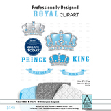 Royal Prince King crown gray silver baby blue clipart