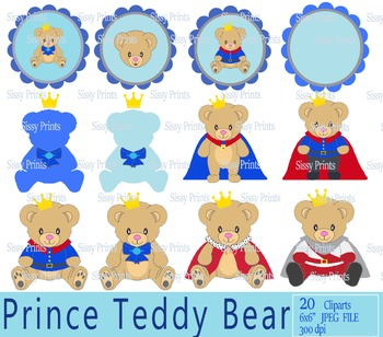 Royal Prince Teddy Bear Clip arts and Digital Paper Pack