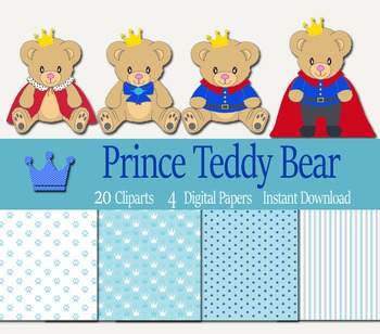 Royal Prince Teddy Bear Clip arts and Digital Paper Pack