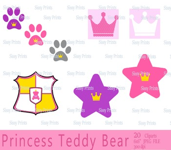 Royal Princess Teddy Bear Clip arts and Digital Paper Pack