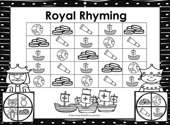 Royal Rhyming:  NO PREP Columbus Day Themed Four in a Row Game